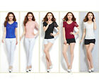 Women's Lace Slim Waist Blouse Tops Delicate Short Sleeve Tee Shirts S-3XL