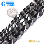 "Natural Black Magnetic Hematite Gemstone Twist Beads For Jewelry Making 15"" GB"