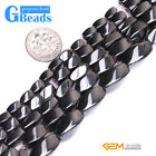 """Natural Black Magnetic Hematite Twist Beads For Jewelry Making Free Shipping 15"""""""