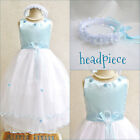 Gorgeous Light/Sky blue pageant flower girl party dress size 2 4 6 8 10 12