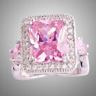 Size L N P R T V Pink & White Topaz Gemstone Silver Ring Emerald Cut Engagement