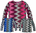 Girls Long Sleeved Vibrant Geometric Print T Shirt New Kids Tops Ages 5-13 Years