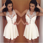 Fashion Sexy Women Summer Bandage Bodycon Evening Party Lace Mini Dress LA CA A2