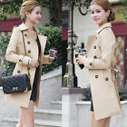 Women's Slim Fit Charm Double-breasted Long Trench Coats Fashion Jackets Outwear