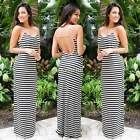 Women Striped Long Maxi Cocktail Evening Party Summer Beach Backless Dress Sexy