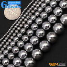"Round Smooth Sliver Gemstone Hematite DIY Crafts Making Loose Beads15""2-12mm"