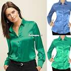 New Womens OL Casual Solid Long Sleeve Top Lapel Collar Button Down Shirt Blouse