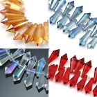 24x Top-drilled Faceted Drop Droplet Cut Glass Crystal Beads Size 8x20mm