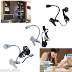 1  2x Black Silver Flexible LED Reading Desk Light Clip-on Bed Table Lamp New
