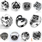 Mens Cool Stainless Steel Band Heavy Biker Finger Ring Punk Gothic Jewelry Gift