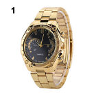 Lady Men Vogue Cool Golden Color Stainless Steel Band Analog Quartz Wrist Watch
