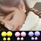Fashion Women's Celebrity Runway Double Pearl Beads Plug Earrings Ear Studs Pin