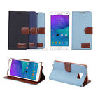Vintage Jeans Style Flip Stand Leather Wallet Case Fit for Samsung Galaxy Series
