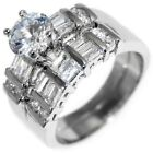 2.74CTW BRILLIANT STONE w/ Baguettes - ENGAGEMENT RING SET (2 rings) 6,8,9,10