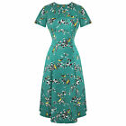 Hell Bunny Teal Blue Bird Print 1940s WW2 Wartime Victory Tea Dress