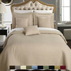Soft Coverlet Set, Luxury Microfiber Checkered Quilted by Royal Hotel Collection