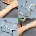 1pc Punk Silver/Gold Simple Open Cuff Bangle Bracelet Womens Mens Jewelry Gift