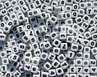 7mm Number Beads U Pick Number White with Glossy Black Numbers 50pc Free Ship