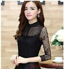Sexy Women Lace Slim Waist Blouse Tops Delicate Long Sleeve Tee Shirts M-2XL