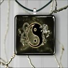 DRAGON AND TIGER YIN AND YANG ASISQUARE PENDANTS NECKLACE MEDIUM OR LARGE -fgb6Z