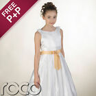 Girl White Dress With Champagne Gold Waistband For Wedding Flowergril Communion