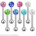 Epoxy Coated Multi Crystal Ferido Gem Ball Tongue Piercing Bar - 10 Colours