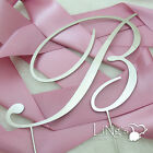 Initial Monogram Cake Topper Silver Letter A to Z Wedding Cake Decoration