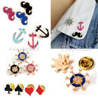 Korean Style Enamel Poker Card Anchor Mustache Wheel Pin Collar Brooch Breastpin