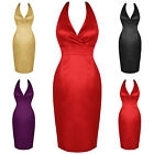 Womens Ladies New Fitted Satin Pencil Evening Cocktail Party Dress 50s Vintage