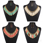 Womens Ethnic Bohemia hand-woven Charm Bib Chain Statement Necklace Earrings
