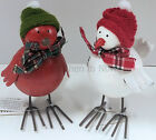 Chic Shabby Metal Robin Bird Christmas Xmas Decoration with Hat & Scarf Vintage