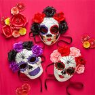 Day of the Dead Skull Paper Mache Halloween Mask, Flowers & Ribbon, Wear or Hang