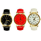 Fashion Women Geneva Roman Numerals PU Leather Analog Quartz Wrist Watch Gift