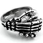 Men 316L Stainless Steel Skull Skeleton Hand in Hand Shake Finger Ring Gift Punk