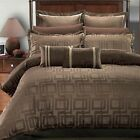 7PC- Janet Jacquard Duvet Cover Set -100% Luxury Brown By Royal Hotel Collection