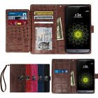 Card Slot Dual Flip Leather Wallet Book Case Cover For iPhone Galaxy LG + Strap