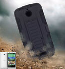 Hybrid Armor Belt Clip Holster Heavy duty Stand Case Cover For HTC Desire 510
