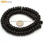 Natural Rondelle 5x10mm Black Coral DIY Gemstone Jewelry Making Beads Strand 15""
