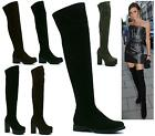 LADIES HIGH HEEL FLAT MID OVER THE KNEE HIGH ZIP STRETCH WINTER PLATFORM BOOTS