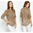 Ladies Zara Leopard Animal Print Chiffon Blouse Top Women's Fitted Shirt  6 - 18