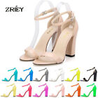 WOMEN'S SEXY OPEN TOE ANKLE STRAPS SANDALS PATENT LEATHER HIGH HEELS PUMPS SHOES