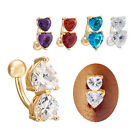 Sweet Double Heart CZ Dangle Navel Belly Button Bar Ring Body Piercing Jewelry
