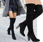 Ladies Women Over The Knee Thigh High Stretch Chunky Block Heel Boots Shoes Size