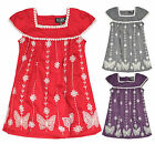 Girls Short Sleeved Butterfly Floral Stitched Dress New Kids Dresses 2-9 Years