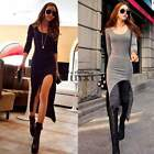 Women Sexy Strech Fit Split Long Sleeve Bodycon Asymmetric Maxiskirt Long Dress