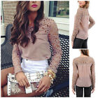 Womens Chiffon Lace Crochet Emboriey Long Sleeve Shirt Casual Blouse Tops New K