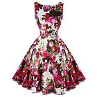 Hearts & Roses London Pink Rose Floral Chintz Retro 1950s Flared Tea Dress