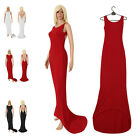 UK Long Backless Formal Maxi Evening Wedding Dress Party Prom Ball Gown