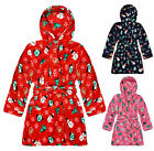 Kids Unisex Christmas Dressing Gown New Boys Girls Xmas Bath Robe Age 2-13 Years