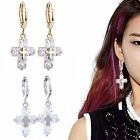 Elegant Women's Attractive Luxury Cross Zircon Ear Hoop Dangle Eardrop Earrings